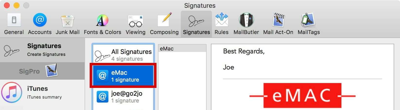 Select the account you want the new signature in.