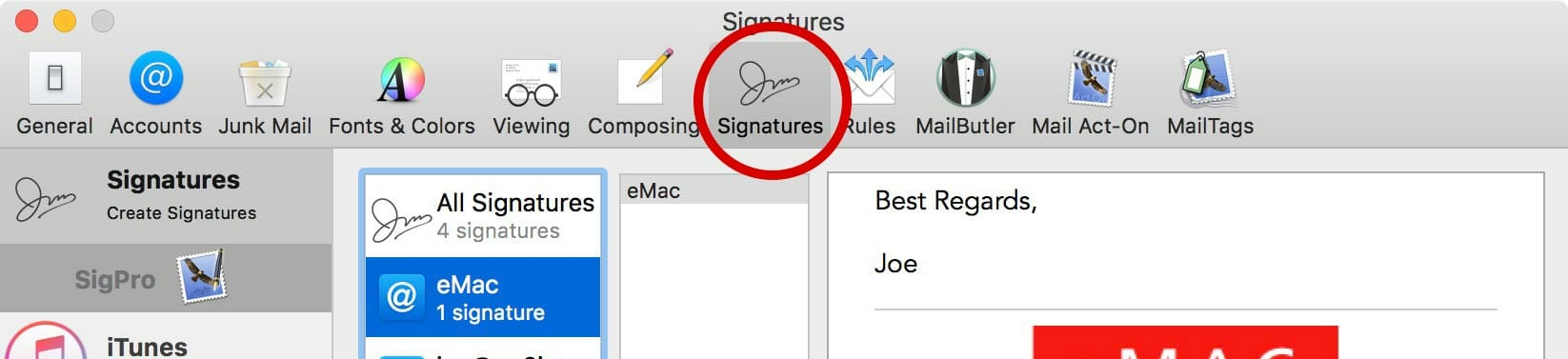 Select the Signatures tab.