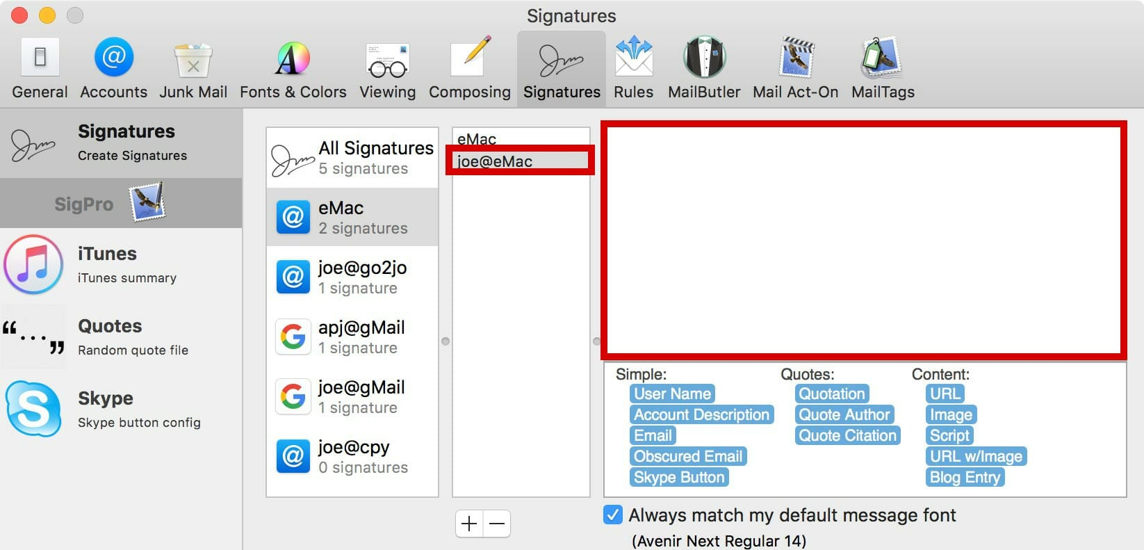 Rename the signature & delete any text in the signature field.