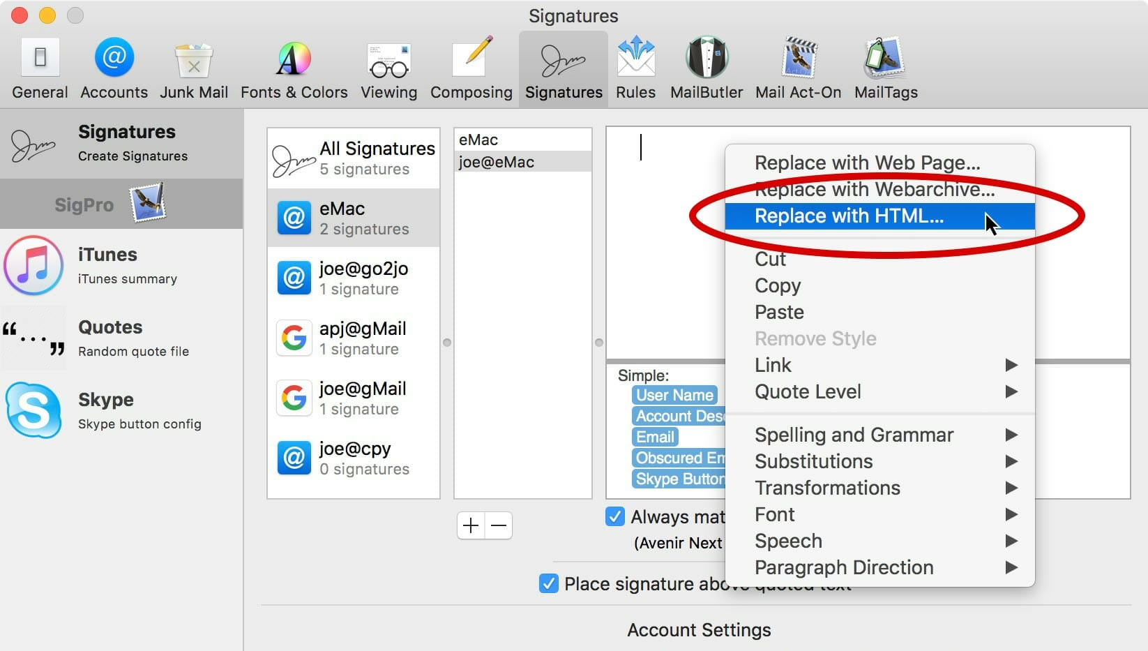 Control click in the signature field & select