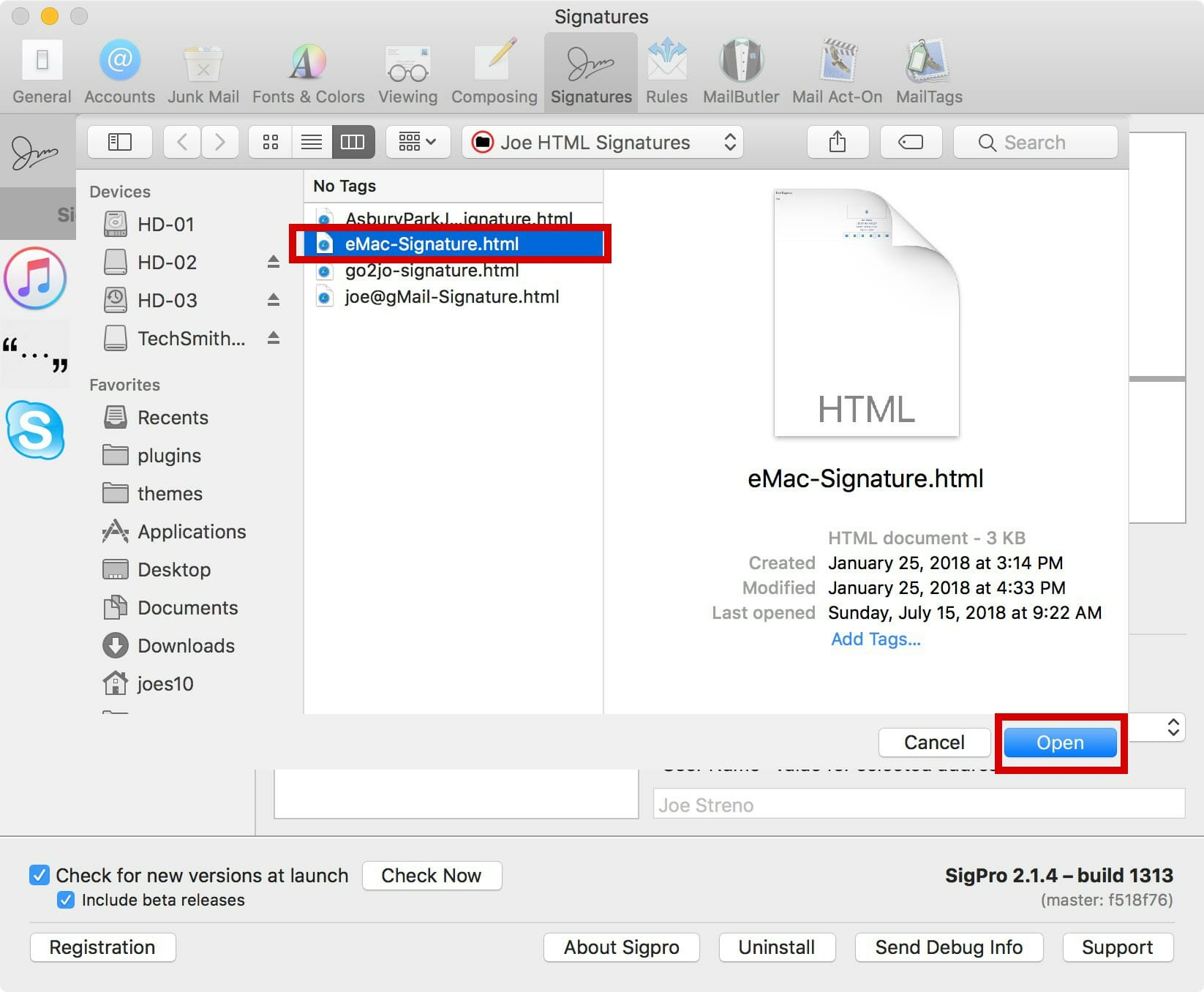 Select the HTML signature to load & click Open.
